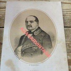 Arte: LITOGRAFIA DE LEOPOLDO O'DONELL, DUQUE DE TETUAN, AÑO 1870,. Lote 114281687