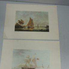 Arte: VINTAGE BONITAS LITOGRAFIAS N WICART DEL THE EMMA OFF RAMSGATE HARBOUR 1827 BARCOS. Lote 115630031