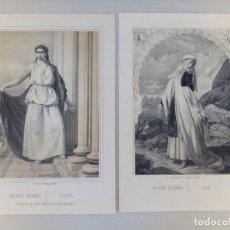 Arte: 2 ANTIGUOS GRABADOS LITOGRAFICOS DE MUJERES CELEBRES. Lote 115896191