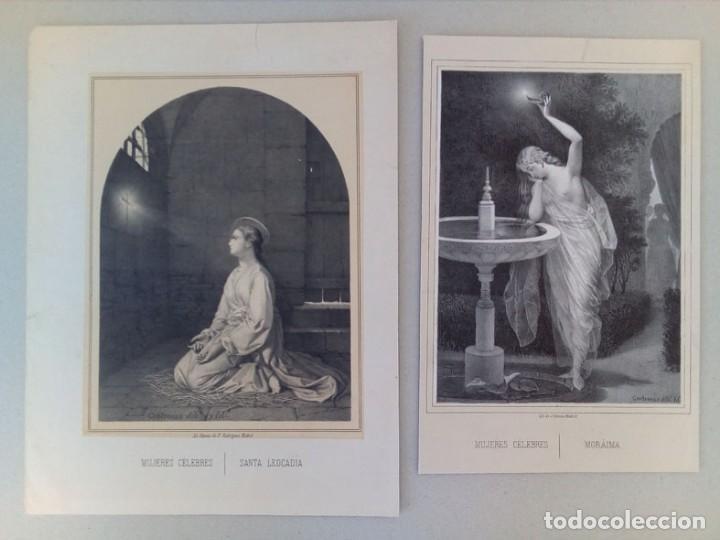 2 ANTIGUOS GRABADOS LITOGRAFICOS DE MUJERES CELEBRES (Arte - Litografías)