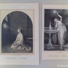 Arte: 2 ANTIGUOS GRABADOS LITOGRAFICOS DE MUJERES CELEBRES. Lote 115896479