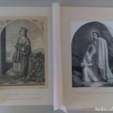 Arte: 2 ANTIGUOS GRABADOS LITOGRAFICOS DE MUJERES CELEBRES. Lote 115896775
