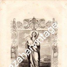 Arte: LITOGRAFIA DEL SIGLO XIX,1853, DE SANTA BARBARA VIRGEN Y MARTIR , 170X260MM. Lote 115911035
