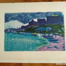 Arte: VISTA DE TARRAGONA PLAYA MILAGRO - LITOGRAFIA N. 7/75 - FIRMADA POR LUIS AMER - 1976 - VER FOTO. Lote 118147347