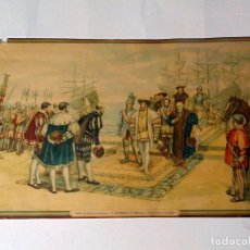 Arte: LITOGRAFIA -DESEMBARCO DE FRANCISCO EN PLAYA DE VALENCIA- DE -J. PINAZO 1876.COPIA DE M. DIAGO. Lote 119423831