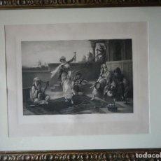 Arte: LITOGRAFÍA DE 1898 OBRA DEL PINTOR L. CROSIO ESCENA MORISCA, GRAN TAMAÑO. Lote 123563199