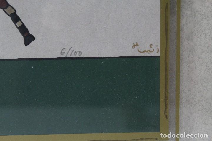 Arte: C-700. TECNICA MIXTA. LITOGRAFIA NUMERADA Y FIRMADA. EN CRISTAL TINTADO. SIGLO XX. - Foto 4 - 124057107