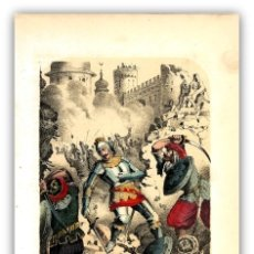 Arte: LITOGRAFIA COLOREADA A MANO 1858- SITIO DE CONSTANTINOPLA - GUERRA SANTA - MILITARIA -. Lote 126022335