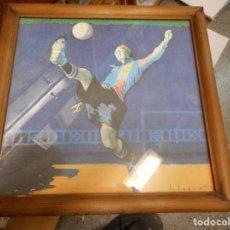 Arte: LITOGRAFIA SEGRELLES FC BARCELONA CON CERTIFICADO Y MARCO MADERA CON CRISTAL POR LOS DOS LADOS. Lote 126058771
