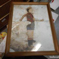 Arte: LITOGRAFIA REGINA GIMENEZ FC BARCELONA CON CERTIFICADO, MARCO MADERA Y CRISTAL DOS LADOS. Lote 126060447