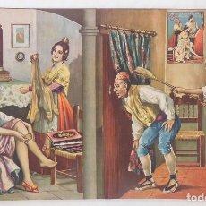 Arte: PROBÁNDOSE MEDIAS BAJO LA MIRADA INDISCRETA. PUBLICIDAD FABRICA DE GENEROS DE PUNTO. Lote 126565987