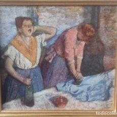 Arte: REPRODUCCIÓN LITOGRÁFICA SOBRE TABLA ENMARCADA DE EDGAR DEGAS (1886): LAS PLANCHADORAS. 28,5X26 CMS. Lote 127770739