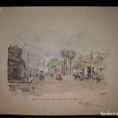 Arte: VISTA PANORAMICA DEL PASEO DE COLÓN DE BARCELONA LLOVERAS 1952. Lote 128084443