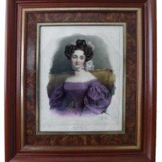 Arte: GREVEDON, PIERRE LOUIS - BELLO RETRATO DE MADAME ALBERT ORIGINAL XIX COLOREADO A MANO, PORTRAIT 1830. Lote 129741859