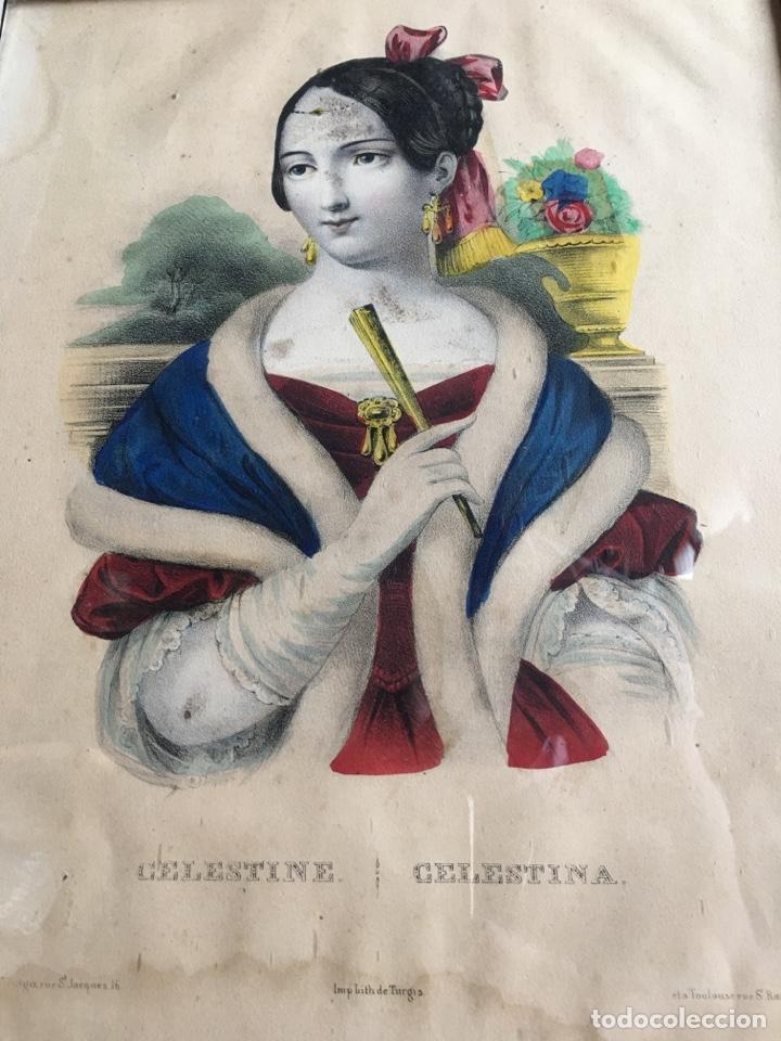 Arte: Litografía retrato de La Celestina - Firma de autor Turgis - Toulouse Rome-Fernando de Rojas abanico - Foto 2 - 131287022