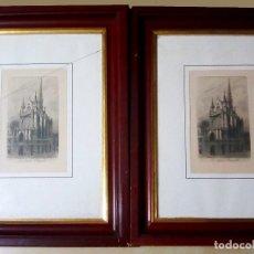 Arte: DOS CUADROS DE PEQUEÑAS LITOGRAFIAS ANTIGUAS DE - LA SAINTE CAPELLE EN PARIS - EAU.FORTE PAR CH. PIN. Lote 131664726