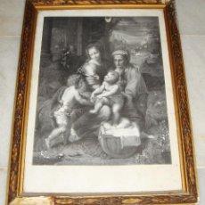 Arte: ANTIGUA LITOGRAFIA RELIGIOSA. SACRA FAMILIA. RAFAEL DE URBINO. LITOGRAFÍA DE J. J. MARTINEZ.. Lote 132058166