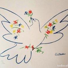Arte: PABLO PICASSO. LITOGRAFIA FIRMADA Y NUMERADA EN EDICION LIMITADA, PALOMA DE LA PAZ . PAPEL ARCHES. Lote 132576970