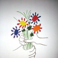 Arte: PABLO PICASSO. LITOGRAFIA FIRMADA Y NUMERADA EN EDICION LIMITADA, EL RAMO DE FLORES. PAPEL ARCHES. Lote 154961489
