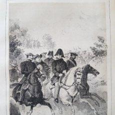 Arte: CARLISMO DON CARLOS ATRAVIESA LOS PIRINEOS TRAS CONVENIO VERGARA LITOGRAFIA N. GONZALEZ MADRID 1871. Lote 132747146