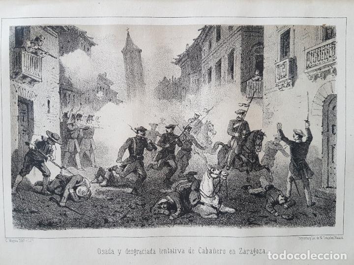 CARLISMO TENTAVIVA DE CABAÑERO EN ZARAGOZA LITOGRAFIA N. GONZALEZ MADRID 1871 (Arte - Litografías)