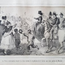 Arte: CARLISMO REINA RECORRE LINEA CON DON CARLOS CERCA DE MADRID LITOGRAFIA N. GONZALEZ MADRID 1871. Lote 132747426