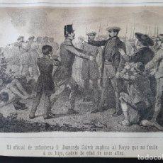 Arte: CARLISMO OFICIAL INFANTERIA SUPLICA A ROYO POR LA VIDA DE SU HIJO LITOGRAFIA N. GONZALEZ MADRID 1871. Lote 132748042