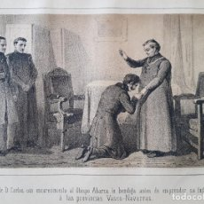 Arte: CARLISMO DON CARLOS BENDECIDO POR EL OBISPO ABARCA LITOGRAFIA N. GONZALEZ MADRID 1871. Lote 132748202