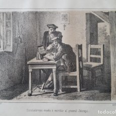 Arte: CARLISMO ZUMALACARREGUI ENSEÑA ESCRIBIR AL GENERAL JAUREGUI LITOGRAFIA N. GONZALEZ MADRID 1871. Lote 132748286