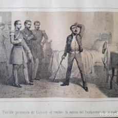 Arte: CARLISMO TERRIBLE JURAMENTO DE CABRERA LITOGRAFIA N. GONZALEZ MADRID 1871. Lote 132748442