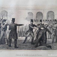 Arte: CARLISMO MADRID ASESINATO DE CANTERA EN EL PATIO DE CORREOS LITOGRAFIA N. GONZALEZ MADRID 1871. Lote 132748506