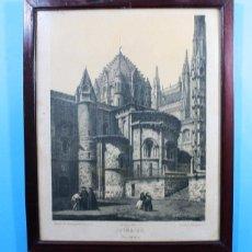 Arte: ANTIGUA LITOGRAFIA PARCESISA: CATEDRAL VIEJA SALAMANCA, LITOGRAFIADO POR S.ISLA . Lote 132925438