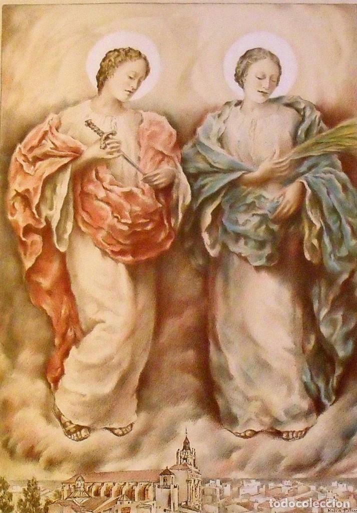 Arte: LITOGRAFIA SANTAS JULIANA Y SEMPRONIANA. RAFAEL ESTRANY. PATRONAS MATARÓ. 65X45 CM. FIRMADA PLANCHA. - Foto 2 - 216582516