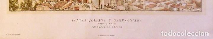 Arte: LITOGRAFIA SANTAS JULIANA Y SEMPRONIANA. RAFAEL ESTRANY. PATRONAS MATARÓ. 65X45 CM. FIRMADA PLANCHA. - Foto 3 - 216582516