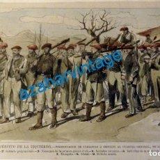 Arte: CARLISMO, PRESENTACION DE CARLISTAS A INDULTO A CUARTEL GENERAL, EN ALSASUA, RARISIMA,260X185MM. Lote 133798074