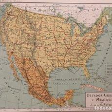 Arte: MAPA ANTIGUO ESTADOS UNIDOS Y MÉXICO - CA. 1920 - LITOGRAFÍA. Lote 136128890