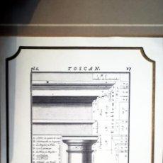 Arte: ANTIGUA LAMINA LITOGRAFICA DE - CHAPITEAU ET ENTTABLEMENT TOSCANS- TAMAÑO 18 X 24 CMS. Lote 137467770