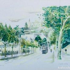 Arte: JOSEP SERRA LLIMONA BONITA LITOGRAFIA AVDA. TIBIDABO-TRANVIA ENMARCADA. Lote 137553410