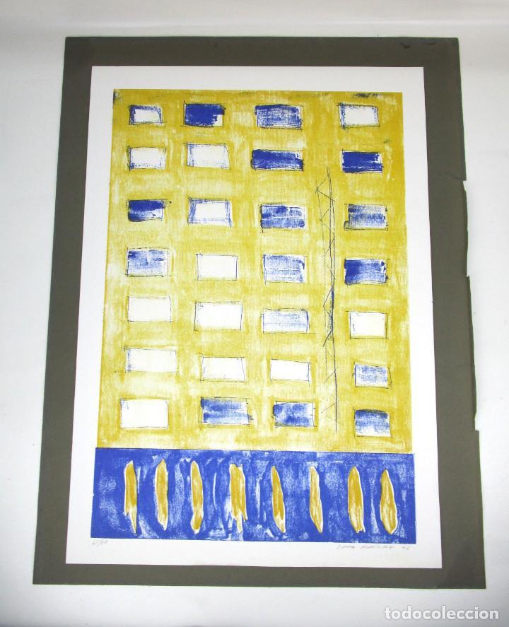 GRAN OBRA 65X45 JUANMA RODRIGUEZ 1996 AMARILLO Y AZUL FIRMADA (Arte - Litografías)