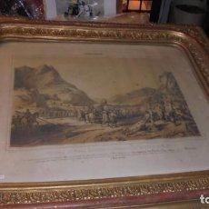 Arte: (M/P) EPISODIOS MARITIMOS - LITOGRAFIA S.XIX CON PRECIOSO MARCO DORADO DE LA EPOCA . . Lote 140847094
