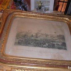 Arte: (M/P) EPISODIOS MARITIMOS - LITOGRAFIA S.XIX CON PRECIOSO MARCO DORADO DE LA EPOCA . . Lote 140858650