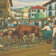 Arte: JOSÉ ARRUE. BUEYES TIRANDO DE PIEDRA. LITOGRAFIA COLOREADA EDITADA POR LABORDE Y LABAYEN. MEDIDAS: 4. Lote 140932250