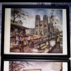 Arte: DOS CUADROS CON LITOGRAFIAS DE OBRAS DE - BRUNET - PARIS AECO TRIUNFO Y CATEDRAL NOTREDAM- 43X33 CMS. Lote 141842326