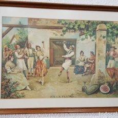 Arte: IMPRESIÓN DE UNA LITOGRAFÍA (EN LA FESTA) DE S. DURÁ VALENCIA. ENMARCADA. Lote 141917646