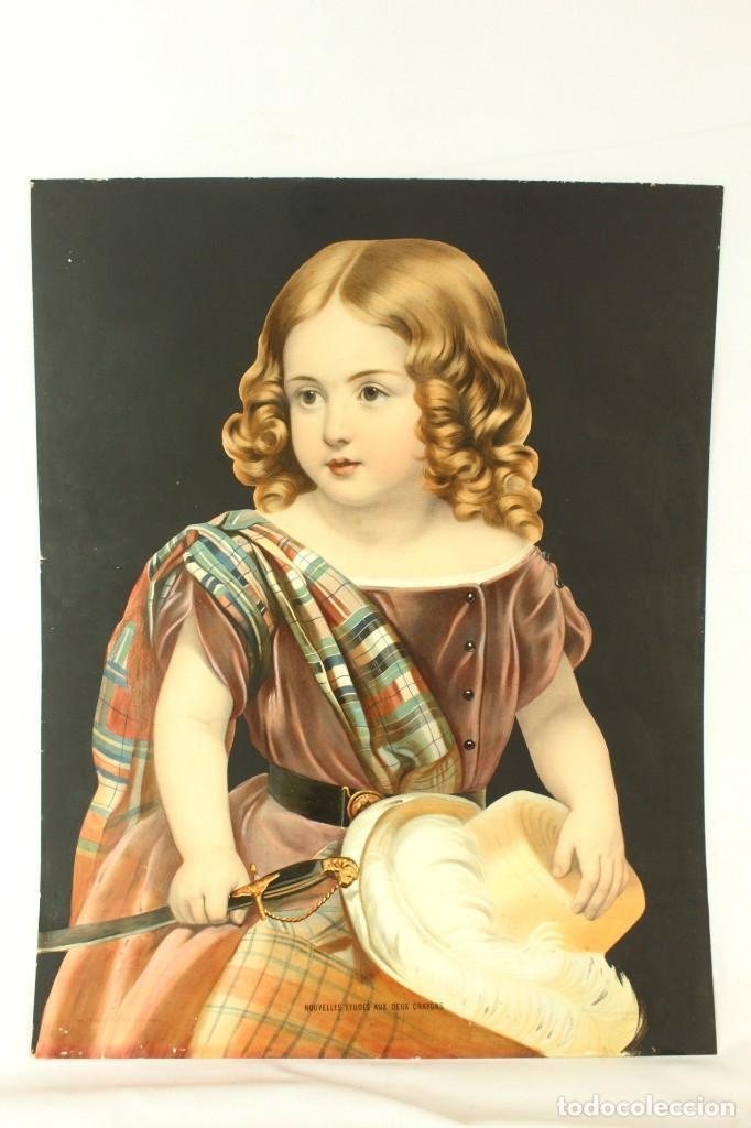 Arte: Bellísima litografía iluminada y enriquecida, en marco de madera dorado. París, s XIX. - Foto 2 - 142665294