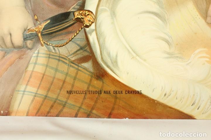 Arte: Bellísima litografía iluminada y enriquecida, en marco de madera dorado. París, s XIX. - Foto 3 - 142665294