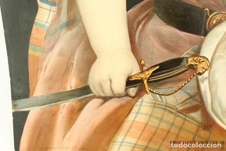 Arte: Bellísima litografía iluminada y enriquecida, en marco de madera dorado. París, s XIX. - Foto 4 - 142665294