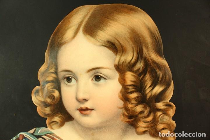 Arte: Bellísima litografía iluminada y enriquecida, en marco de madera dorado. París, s XIX. - Foto 5 - 142665294