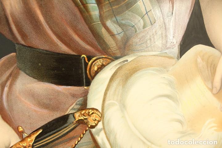 Arte: Bellísima litografía iluminada y enriquecida, en marco de madera dorado. París, s XIX. - Foto 6 - 142665294