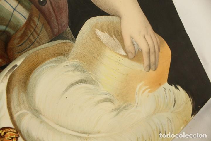 Arte: Bellísima litografía iluminada y enriquecida, en marco de madera dorado. París, s XIX. - Foto 7 - 142665294